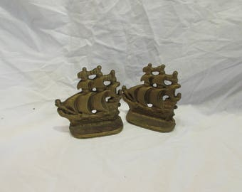 Bookens, Pair, Clipper Ships, Cast Iron, Painted Gold, Mid Century, Vintage, 1950's