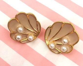 Shell Earrings, Enamel, The Tahitian, Pink Vintage Inspired Earrings