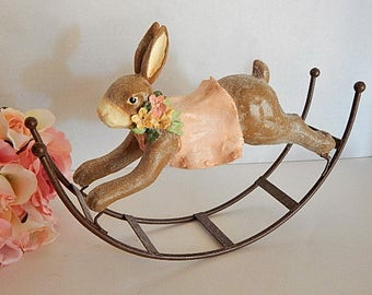 Rabbit Figurine Whimsical Brown Resin Animal on Metal Rocker by Bunny Patch Spring and Easter Home Decor