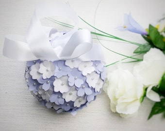 Lilac and white pomander, flowergirl pomander, wedding aisle decor, wedding decor, church pew decor, paper hydrangea flowers, paper flowers