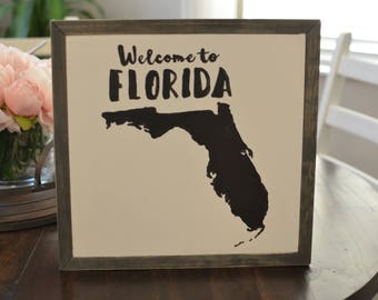 CUSTOMIZED Welcome to (Your State) Wood Framed Sign