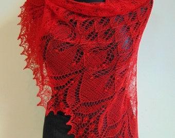 Triangular red lace shawl, red hand knitted lace shawl,Shawl with Haapsalu nupps, wedding shawl, red, READY to SHIP
