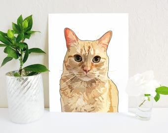 Orange Tabby Cat Art Print, Cat Painting, Cat Lady Gift, Cat Lover Art, Tabby Cat Decor, Cat Memorial, Cat Portrait, Cat Decor, Cat Wall Art