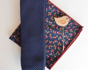 Navy Knit Tie or Gift Set