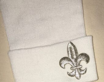 Newborn Hospital Hat.  Baby Newborn Hats. Newborn Beanies. Fleur De Lis