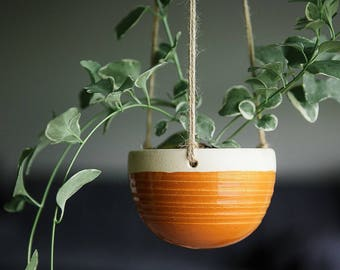CERAMIC HANGING PLANTER // Mother's Day gift - hanging planter- succulent planter - hostess gift - greenery decor - deep goldenrod