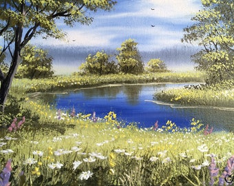 On a summer day by the river. Original Oil Painting by Andrei Bagno. Signed Stretched. Impressionizm, realizm. Direct from the artist