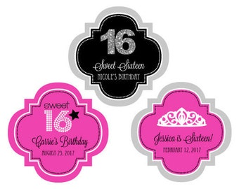 """Personalized Sweet 16 (or 15) 1.5"""" Mini Favor Labels, (Set of 24)"""