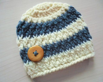 Baby boy hat Striped boy hat Newborn beanie Blue and cream hat Baby boy winter hat Newborn boy outfit Crochet newborn hat Boys crochet hats
