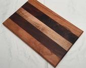 Wooden Cutting Board Solid Wood Maple Cherry and Walnut Trivet Cutting Board 7x10