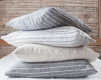 linen pillowcases standard size sold by the pair choose from 6 different stripes made inPortland Maine