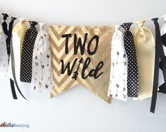 TWO WILD birthday, second, 2nd birthday boy, girl, decorations, highchair banner, gold, black, white, where the wild things are, photo prop
