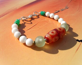 DZI BEAD sky Pearl carnelian 7 eyes African trade beads recycling agate ball bracelet
