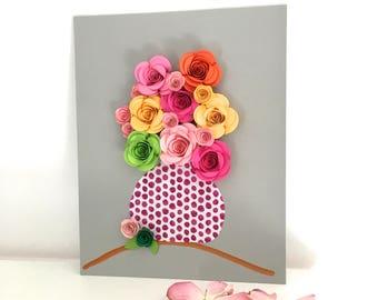 Paper flowers wall hanging, 3 dimensional art, flowers in vase art, mixed media art