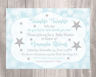 Baby Shower Invitation, Twinkle Twinkle Little Star Baby Shower Invite, Blue and Silver Star Baby Shower DIY Printable Invitation