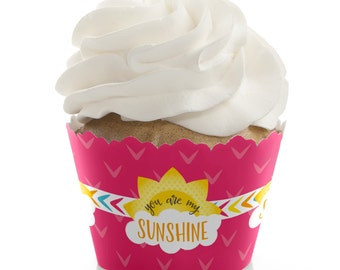 You Are My Sunshine - Cupcake Wrappers - You Are My Sunshine Baby Shower or Birthday Party Cupcake Decorations - Set of 12