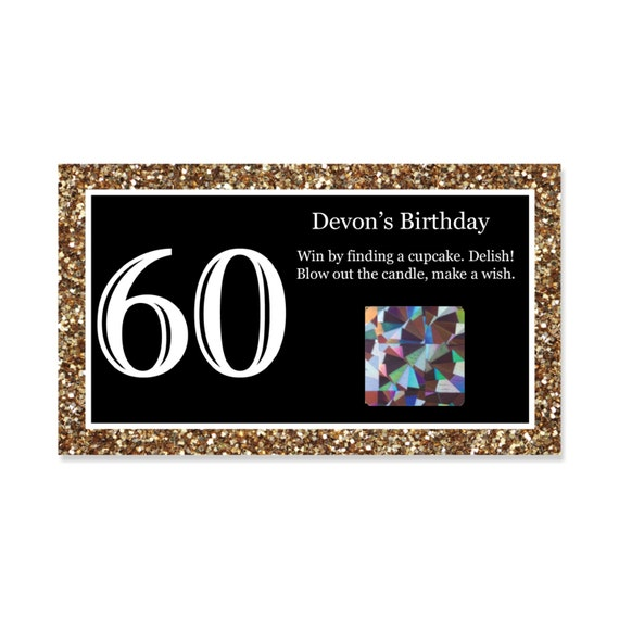 60th Birthday Party Scratch Off Game