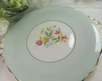 Roslyn Cake Plate , Vintage Duck Egg Blue