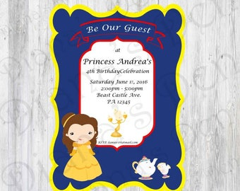 Beauty and the beast party invitations Etsy