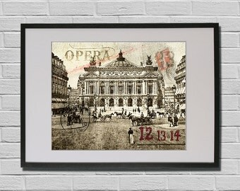 Paris Fine Art Print of Opéra Garnier - Paris 1900 vintage Postcard Travel Poster Old Fashion France Music Academy Retro Picture
