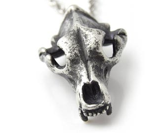 Antiqued Grizzly Bear Skull Pendant Necklace in Handmade Pewter