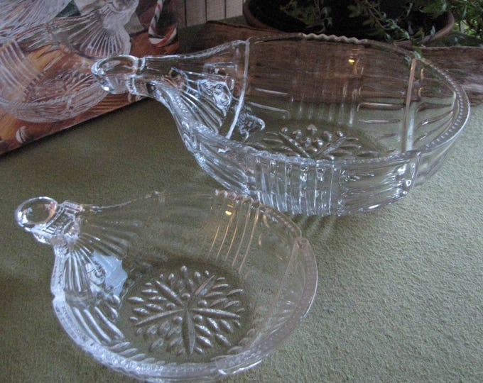 Vintage Christmas Chip and Dip Bowl Fifth Avenue Ornament Bowls Crystal Holiday Set