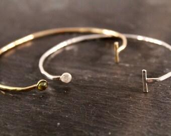 Hammered Birthstone Bangle Cuff - ONE BANGLE CUFF (Rose Gold Sterling Silver Bracelet Bangles Birthday Bridesmaid Wedding Gifts Under 50)