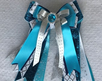Horse Show Hair Bows/Silver White Turquoise Blue Sparkle gem/Beautiful & Awesome