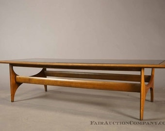 Adrian Pearsall Attr. Lane Coffee Table with Mid Century Modern Tinted Glass