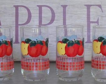 Set of 4 Apple Drinking Glasses!
