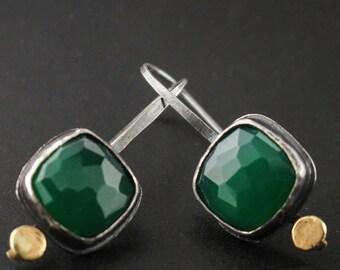 Green Onyx Pebble Earrings
