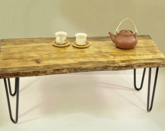 live edge coffee table, reclaimed wood table, Couchtisch Live-Edge dining bench slab coffee table Table Bench