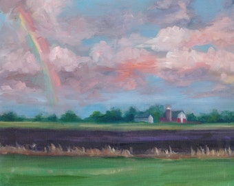 Frink Farm, oil painting,  original art, country art, landscape, americana, farming
