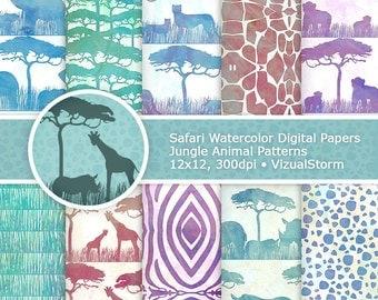 Watercolor Safari Digital Paper Printable Watercolour Jungle Animal Backgrounds Safari Animal Watercolor Papers African Animal Scrapbooking
