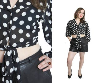 Polka dot shirt, Cropped shirt, Vintage polka dot blouse, 80s dot shirt,  Wide sleeve shirt, Tie up shirt, Long sleeves top / Small Medium