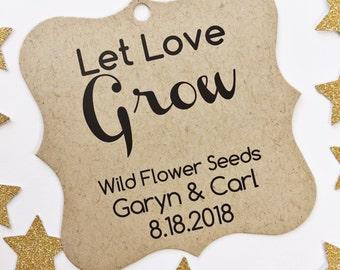 Let Love Grow Tags, Let Love Grow Wedding Kraft Favor Tags, Succulent Hang Tags  (FS-021-2-KR)