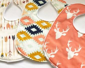 Baby Bib Set- Aztec Baby Girl Bib Set - Baby Girl Deer and Arrow Bib Set - Pink Deer Head Bib Set -White Minky Backing - Handmade Gift