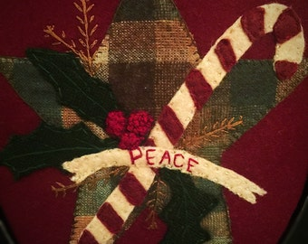 Wool Applique Christmas Star Wall Decor  Handmade!