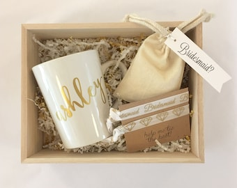 Wooden Bridesmaid Gift Box Sets Thank You Or Will Be My Maid Of Honor