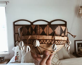 African gourd instrument/african gita calabash gourd drum/rattle musical instrument/vintage African gourd instrument