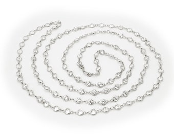 "925 Sterling Silver CZ By The Yard Round Cut Cubic Zirconia Chain Necklace, 40"" 211685"