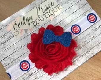 Chicago Cubs Baby Headband Cubs Newborn Headband Girls Glitter Bow Headband Chicago Cubs Bow MLB Baseball Baby Headband Red and Blue Headban