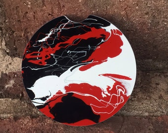 Custom black red white swirl Stone car coasters (set of 2) Absorbent Sandstone Personalized, Custom Car Coasters (set of2) Gift Ideas