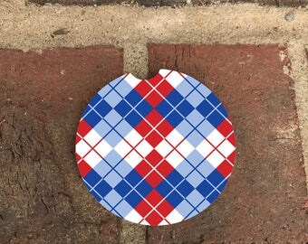 Custom Red/Blue Gingham Print Sandstone Auto Car Cup Holder Coasters (set of2), Absorbent Sandstone Custom Car Coasters (set of2) Gift Ideas
