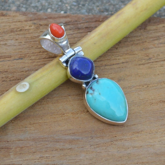 Natural Tibetan Turquoise Pendant, Lapis Pendant,  Coral Set In Sterling Silver Jewelry, Solitaire Pendant, Designer Silver Pendant