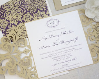 Purple and Gold Wedding Invitations, Laser cut wedding invitation, Eggplant, Purple, Gold, Pocket Invitations, DEPOSIT to get started