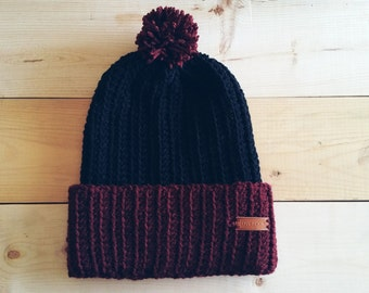 Skate Beanie, Thick banded, Crochet Maroon and Black,