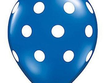 11 inch Polka Dots latex balloon- Blue