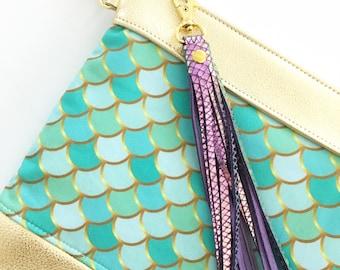 Mermaid gold leather cross body bag , gold leather purse cross body, hipster , boho, leather bag glam