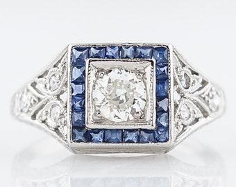 Antique Engagement Ring Art Deco .28 Old European Cut Diamond in Platinum